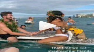 Wedding In Ocean: समुद्र में शादी, Black अंडरवियर में दूल्हा, White Bikini में सजी दुल्हन   देखें Viral Video