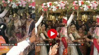 Dulhan Ki Entry: दुल्हन की हाहाकारी एंट्री देख खुशी से झूम उठा दूल्हा, स्टेज छोड़कर पहुंच गया उसी के पास | देखिए मजेदार Video