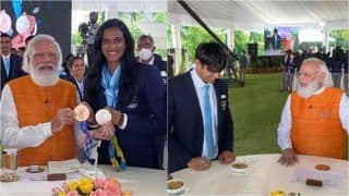 PM Narendra Modi Shares Ice-Cream With PV Sindhu, Treats Gold Medallist Neeraj Chopra With Churma | SEE PICS