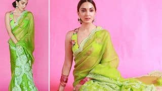 Kiara Advani is Resplendent in Rs 48K Sheer Green Sari And Backless Blouse For Shershaah Promotions