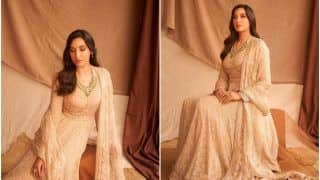 Nora Fatehi Looks Regal in Rs 3.7 Lakh Ivory Anarkali Kurta Set by Tarun Tahiliani