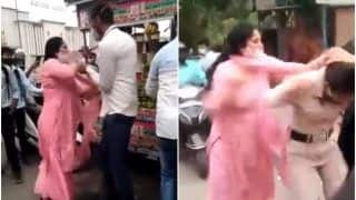 Video: Delhi Woman Slaps, Kicks & Pulls Hair of Officials After They Issue Challan Over Not Wearing Mask   Watch