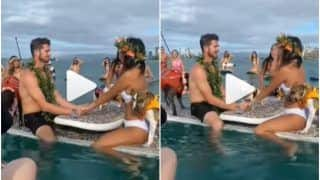 Viral Video: Bride & Groom Get Married on a Boat in Middle of The Ocean, Pet Dogs Also Attend Wedding | Watch