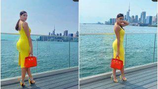 Nora Fatehi Aces Her Fashion Game with Yellow Bodycon Dress, Christian Louboutin Heels and Hermes Birkin Handbag