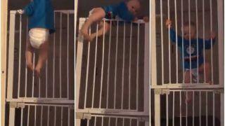 Viral Video: 6 फीट के दरवाजे पर आराम से चढ़ गया डेढ़ साल का बच्चा, फिर उतर भी गया | वायरल हो रहा मजेदार वीडियो
