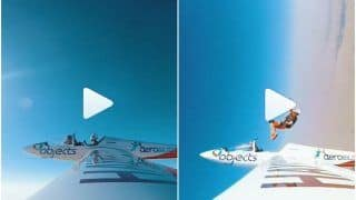 हजारों फीट ऊपर आसमान में उड़ रहा था विमान, छलांग लगा नीचे कूद गया शख्स | Viral हुआ ये Video