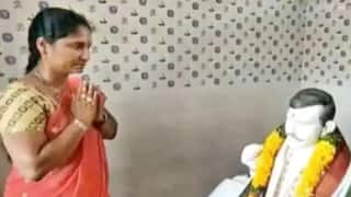 Andhra Woman Builds Temple For Her Dead Husband, Performs Puja In Front of His Statue Everyday