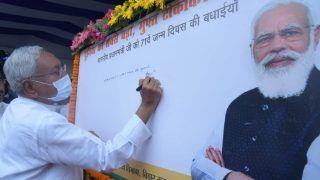 बिहार सीएम नीतीश ने की टीकाकरण महाअभियान की शुरूआत, खुद लिखकर दी पीएम को जन्मदिन की बधाई