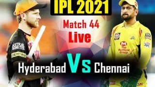 IPL 2021 MATCH HIGHLIGHTS, SRH vs CSK Match 44 Cricket Updates: MS Dhoni Finishes With a SIX; Chennai Super Kings Beat Sunrisers Hyderabad by 6 Wickets to Qualify For Playoffs