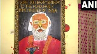 Odisha Artist Crafts 8-Feet Long Portrait of PM Modi Using Food Grains on His 71st Birthday