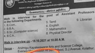 Job Advertisement For 'Hindus Only' in Tamil Nadu College Creates Uproar
