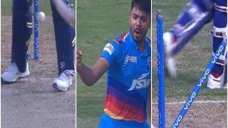 IPL 2021, MI vs DC: Avesh Khan की यॉर्कर पर Hardik Pandya क्लीन बोल्ड, पैरों के बीच से निकली गेंद