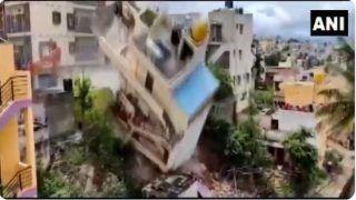 Viral Video: Bengaluru Building Demolished After Foundation Tilts Following Heavy Rains | WATCH