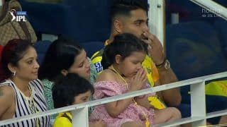 IPL 2021: MS Dhoni's Daughter Ziva Prays For Dad During DC vs CSK Game in Dubai, Check Viral Pics