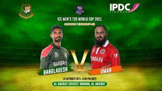 T20 World Cup 2021 MATCH HIGHLIGHTS, OMN vs BAN Match 6 Cricket Updates: Shakib Al Hasan, Mustafizur Rahman Star as Bangladesh Beat Oman to Stay Alive in Tournament