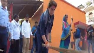 'An Act of Self-Respect', Priyanka Hits Back at UP CM Yogi, Picks Up Broom Again to Clean Dalit Locality   Watch