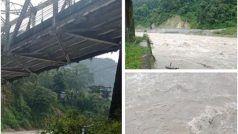 सिक्किम में भारी बारिश के कारण रांग्पो ब्रिज का री-इनफोर्समेंट पिलर बहा, देखें तस्वीरें