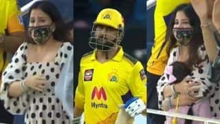 IPL 2021 Playoffs: Sakshi Gets Emotional After Finisher MS Dhoni Takes CSK to Finals in Dubai; Video Goes Viral | WATCH