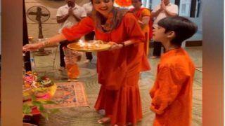 शिल्पा शेट्टी ने बेटे वियान और बेटी समीशा के साथ की नवरात्रि पूजा, नहीं नजर आए राज कुंद्रा- VIDEO