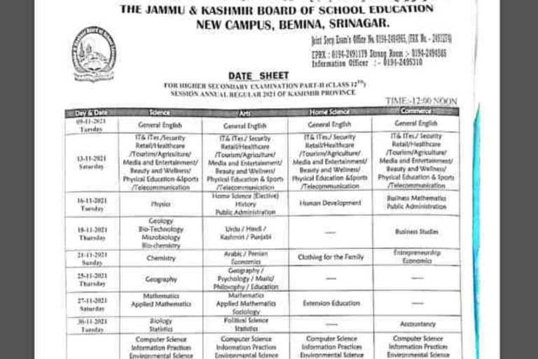 JKBOSE 12 Date Sheet 2021 Released For Kashmir Division, Exams to begin from THIS Date | Check How to Download