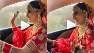 Viral Video: Excited Bride Drives a Car to Wedding Venue, Vibes to Bollywood Song | Watch