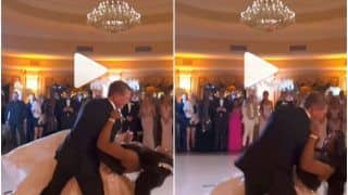 Viral Video: Bride & Groom Fall on Stage While Dancing on Their Wedding Day, Leave Guests Amused | Watch