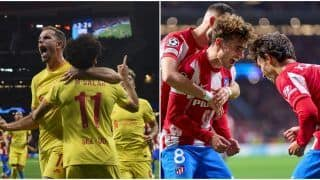 UEFA Champions League: Mohamed Salah's Brace Helps Liverpool Beat 10-Man Atletico Madrid by 3-2; Antoine Griezmann Sent Off