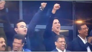 WATCH| BCCI Secretary Jay Shah and Akshay Kumar Celebrates After Over-Throw From Shaheen Afridi in India vs Pakistan Match