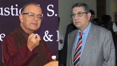 N Srinivasan set to discuss with Arun Jaitley for future course of action