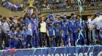 Champions Mumbai Indians celebrate at Wankhede Stadium amid huge fan support