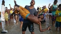 FIFA World Cup 2014: Brazilians celebrate after World Cup scare
