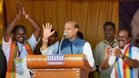 Rajnath Singh hits out at Congress over Robert Vadra