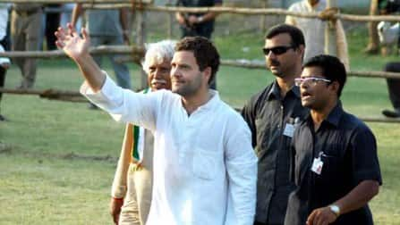 Rahul Gandhi irked by a lotus inside a polling booth in Amethi