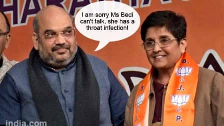 Kiran Bedi's 'throat infection' prevents her from campaigning!